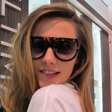 XaYbZc Sunglasses Woman Vintage Retro Flat Top Gradient Shield Black Sun Glasses Luxury Designer Ove