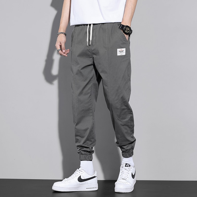 Trendy Summer Men's Casual Pants Loose-Fit Tappered Trousers Cotton All-Matching and Handsome Korean Thin Cropped Pants