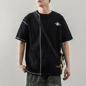 Summer Loose Men Oversized T Shirt Harajuku Stylish Outdoor Men Clothing Sports Fitness Tshirt Bright Line Black White 2 Colours