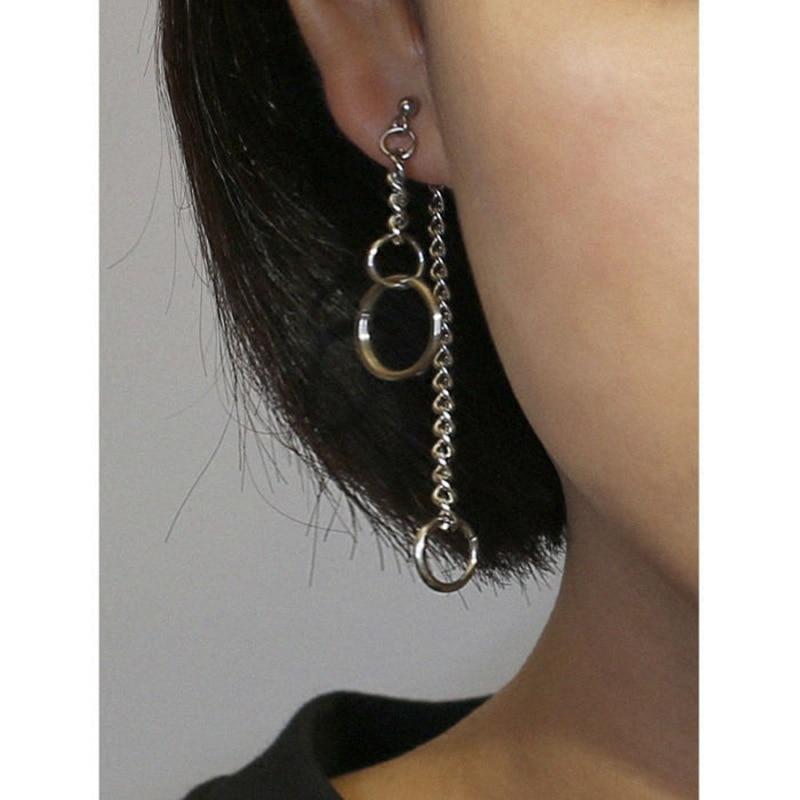 Indie Goth Earrings Female Geometric Circle Earring Chain Ring Long Asymmetric Back Hanging Earring E Girl Aesthetic Accessories