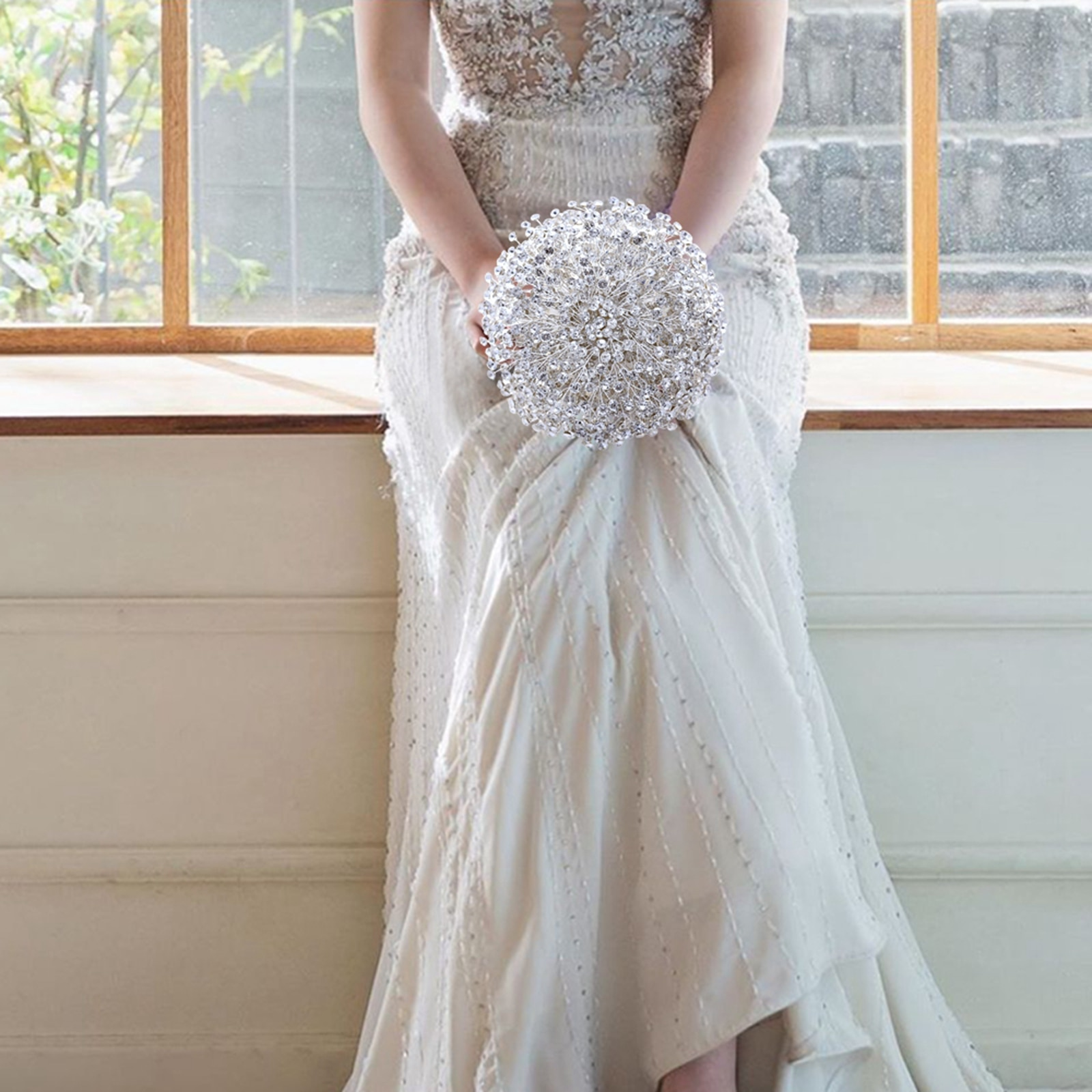 Блестящий серебряный Свадебный букет со стразами, Цветочные свадебные аксессуары, свадебный букет, жемчужный Свадебный букет для невесты, ...
