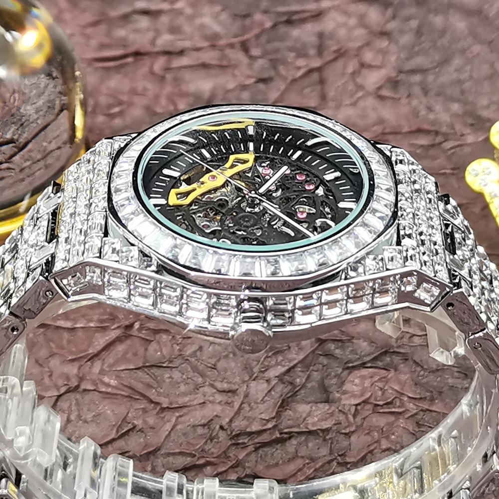 Hip Hop MISSFOX Automatic Mechanical Men Watches Full Square Diamond Silver Bling Watch Tourbillon AAA Clocks Relógio Masculino enlarge