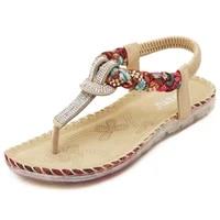 summer back strap ethnic women sandals beach shoes seaside vocation bohemian rhinestone woven large size printed flat shoe