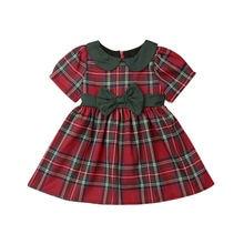 عيد الميلاد طفل أطفال طفلة فستان ملابس أحمر منقوشة الأخضر Bowknot توتو الأميرة حفلة عيد الميلاد فستان ازياء ل 1-4 y