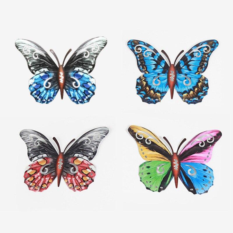 4 قطعة فراشة معدنية الجدار الديكور الشنق النحت الجدار الفني حديقة الديكور مينياتوراس الحيوان في الهواء الطلق التماثيل لساحة
