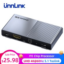 Unnlink HDMI Audio Extractor Converter Splitter UHD4K@60Hz HIFI5.1 SPDIF Toslink Optical RCA for Fire TV Stick Chromecast Roku