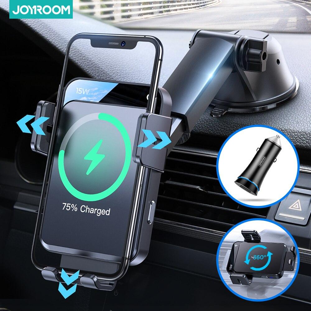 Joyroom حامل هاتف السيارة 15 واط حامل شاحن لاسلكي قفل الكهربائية مستقرة سيارة الهاتف شاحن تنفيس حامل لتابلوه السيارة حامل هاتف