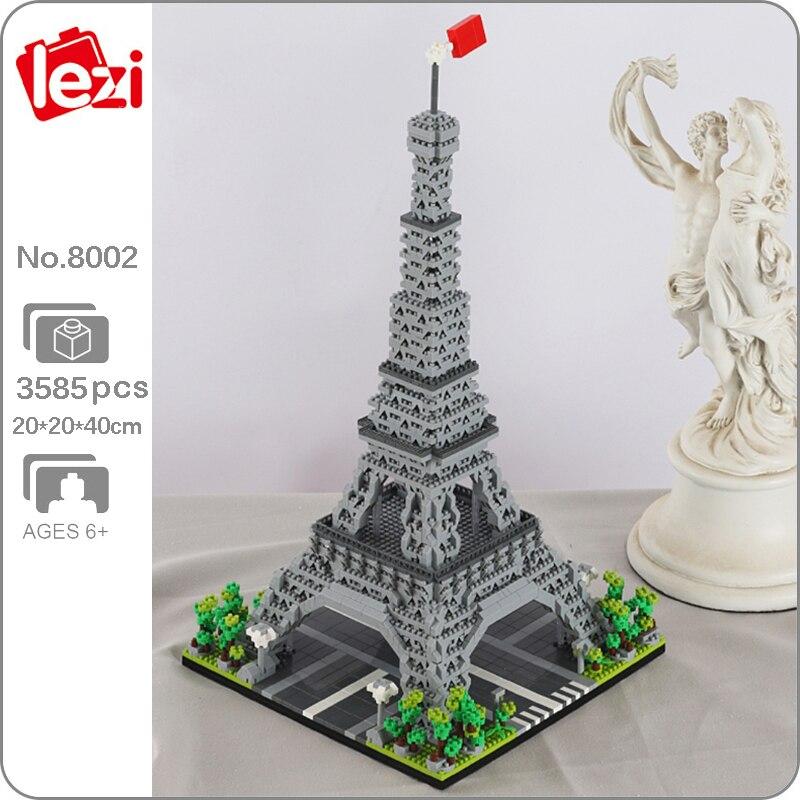 Lezi 8002 العمارة العالمية فرنسا باريس برج ايفل ثلاثية الأبعاد نموذج لتقوم بها بنفسك كتل الماس الصغيرة الطوب بناء لعبة للأطفال لا صندوق