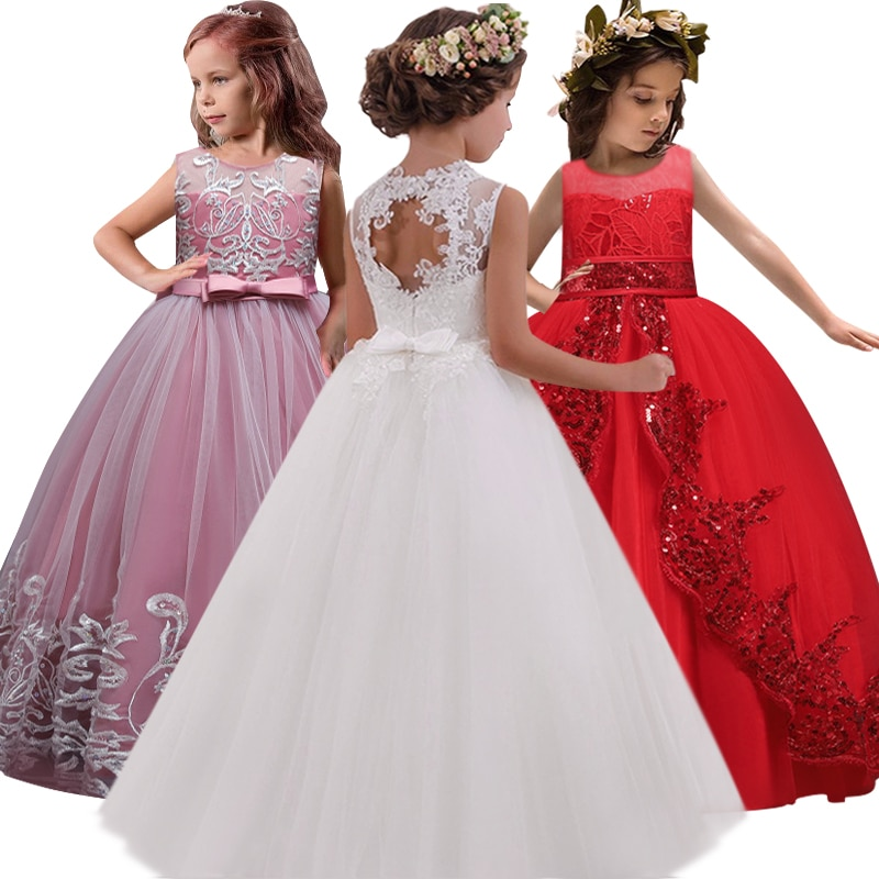 New 2020 Girls'Back Hollow Flower Dress Flower Boy High-end Wedding Dress Elegant Girls' Flower-lace Banquet Dress