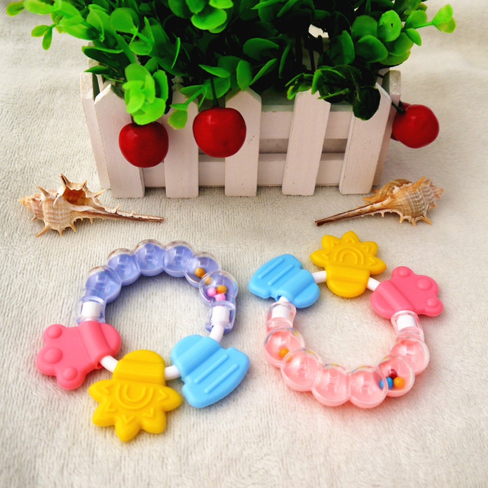 1pc Baby Rattles Newborn Teether Toys Teeth Biting Toddler Bed Bell Silicone Handbell Jingle Cartoon Educational Toy