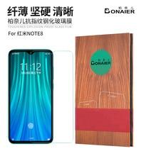 Nuevo cristal Bonaier para Redmi Note 8 Pro, pegamento total 9H, película de cristal templado para Redmi Note 8, Protector de pantalla negro + película posterior gratis