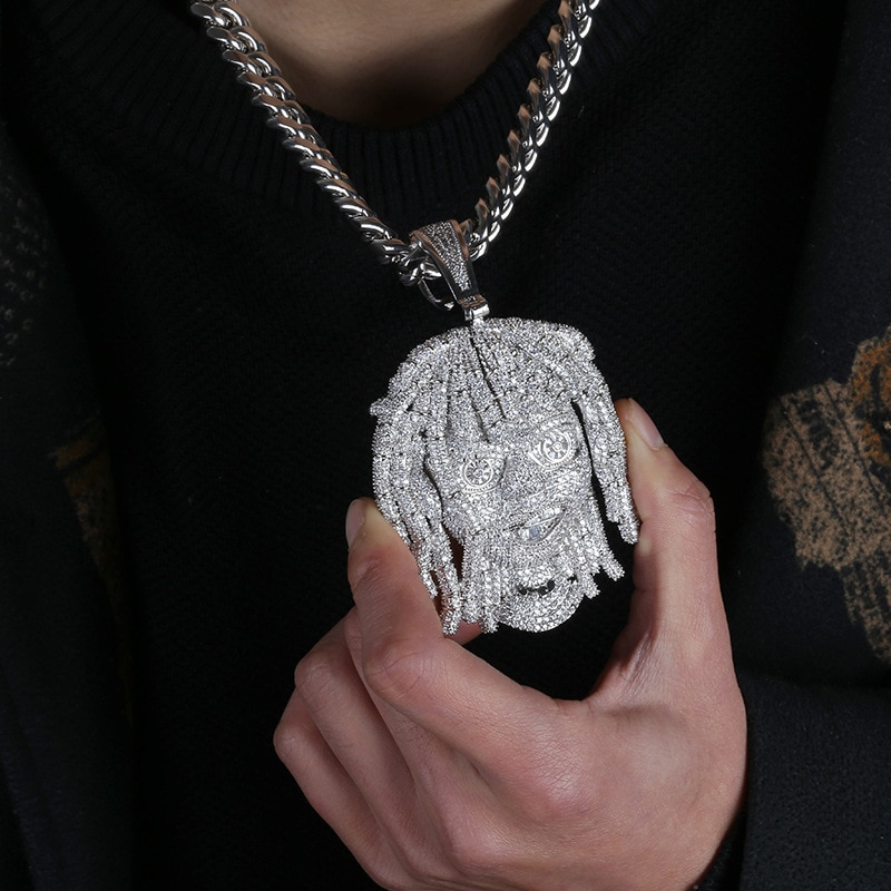 Iced Out Rapper Pendant Necklace New Arrival AAA Cubic Zirconia Big Size Mens Necklace Fashion Hip Hop Jewelry