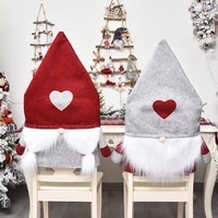 2021 santa hat chair covers christmas ornaments dinner chair cover dinner table hat chair back covers navidad new year decor