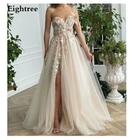 eightree sweet 3d flower peral long evening dresses appliques spaghetti sweetheart split slit prom dresses formal party dress