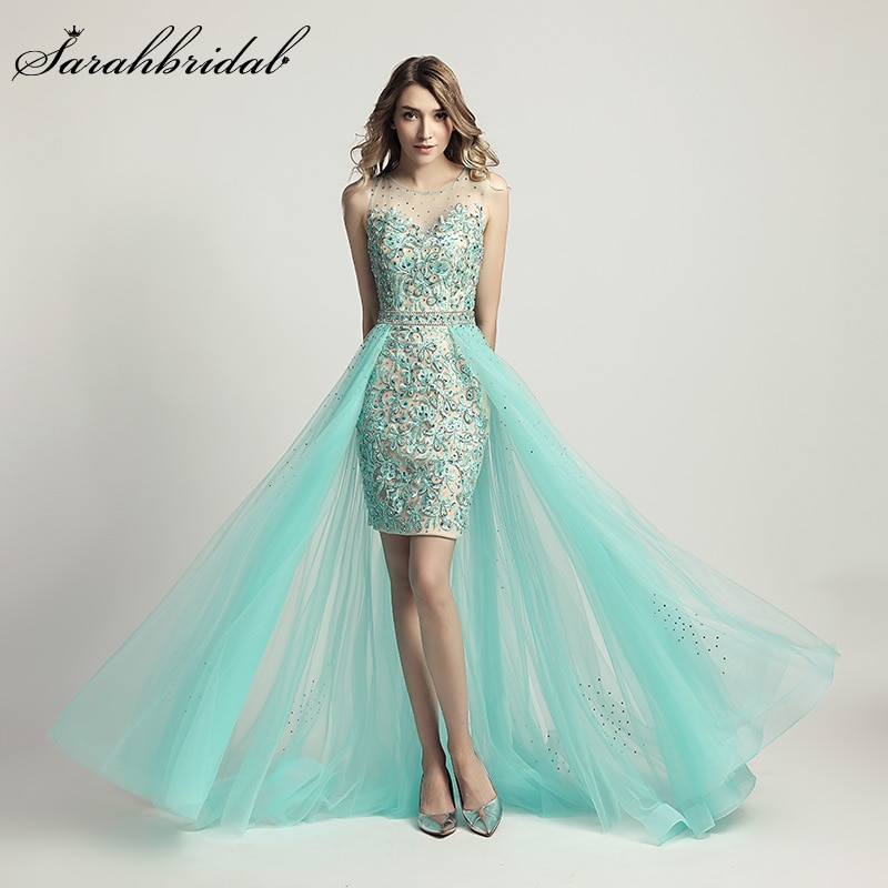 Elegant Sexy Evening Dresses Sleeveless Empire Floor Length Party Gowns Beads Illusion Bodice Embroidery Robe De Soiree LX441