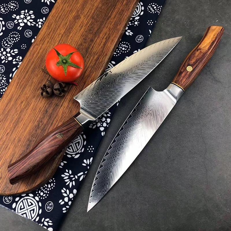 Damasco-cuchillos de cocina con mango profesional, palisandro de Siam, para chef, cuchillo...