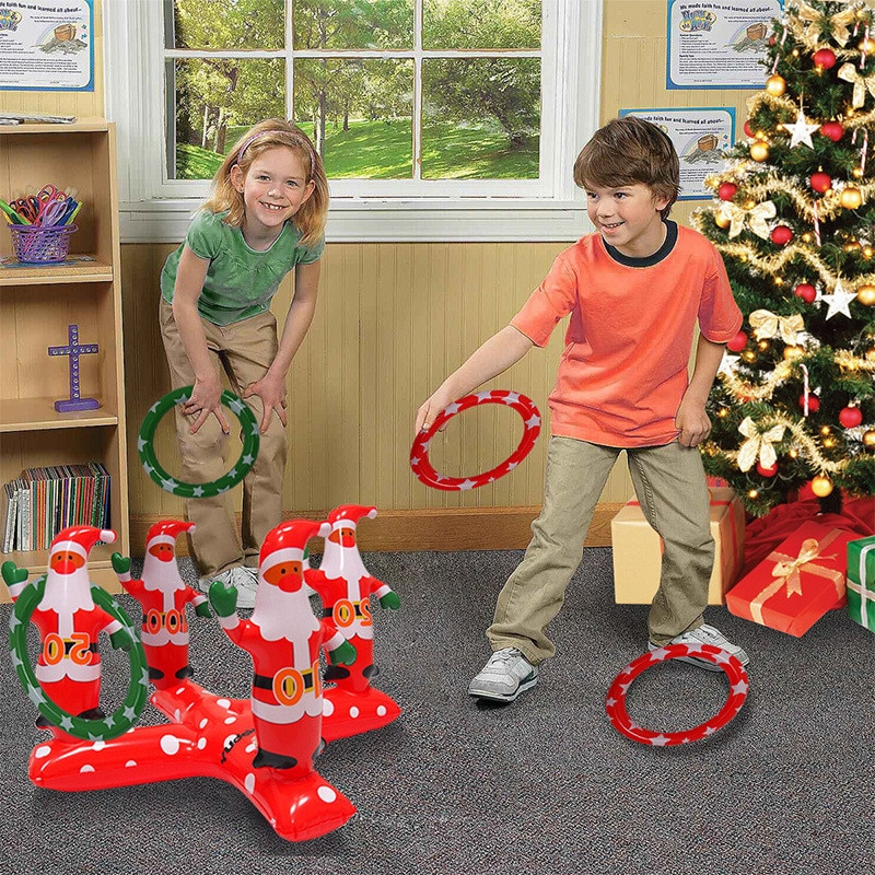 Inflatable Christmas Ring Toy Christmas Tree Ring Santa Claus Throwing Game For Xmas Holiday Party P