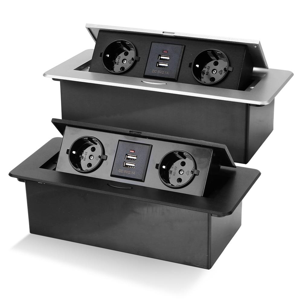 2/3 الاتحاد الأوروبي المقبس سطح المكتب المقبس مع USB شحن الجدول المخرج بطيئة المنبثقة سبائك الألومنيوم غطاء لغرفة الاجتماعات