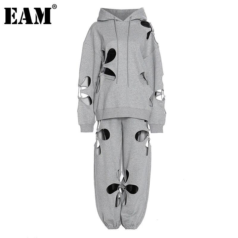 EAM-بنطلون نسائي رمادي مخرم ، بدلة من قطعتين ، أكمام طويلة ، بقصة فضفاضة ، موضة المد ، الربيع والصيف ، 2021 ، 1DD4201
