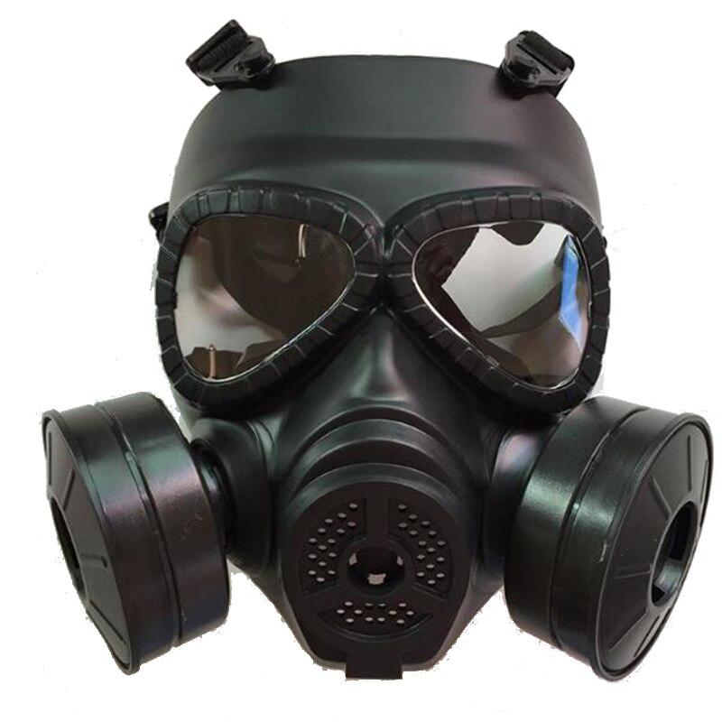 Masque à gaz noir tactique masque de protection facial de Style militaire nettoyage chimique extérieur masque complet