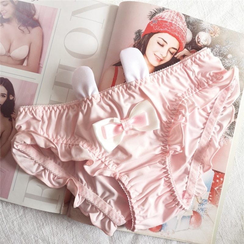Solid Rabbit Ears Briefs Lolita Girls Cute Bow Cotton Underwear Women Ruffle Seamless Panties Cartoon Lingerie Student