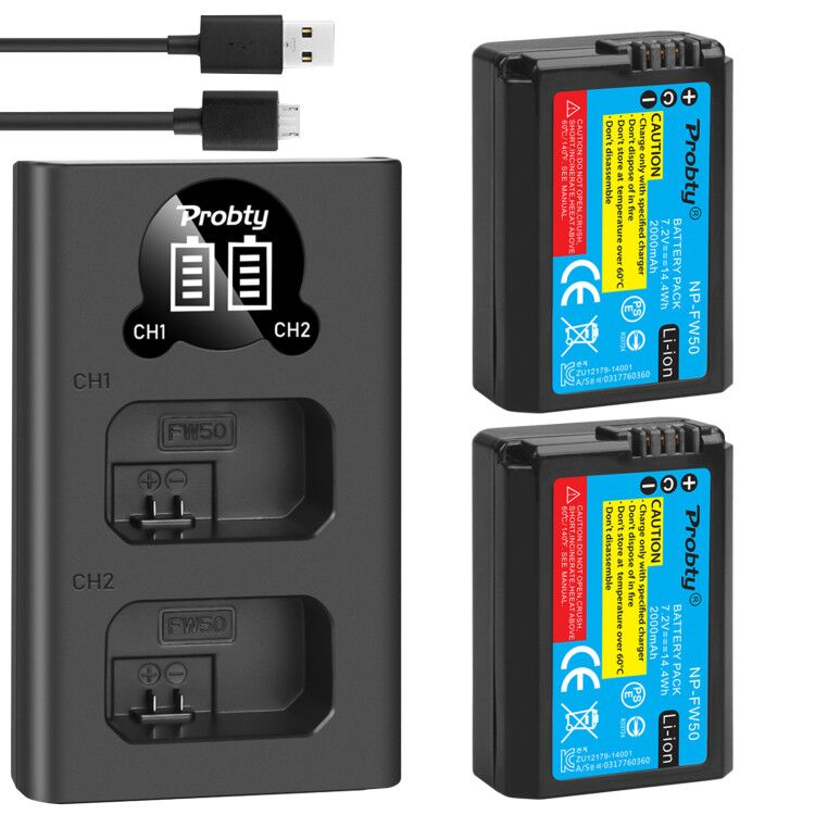 2 uds., batería de NP-FW50 de 2000mAh + cargador Dual LED inteligente para Sony A6300, A6500, NEX-3, 5, 6, 7, A5100, 7Rm2, 5100, QX1, RX10M2, 7S, a7m2, A7r2