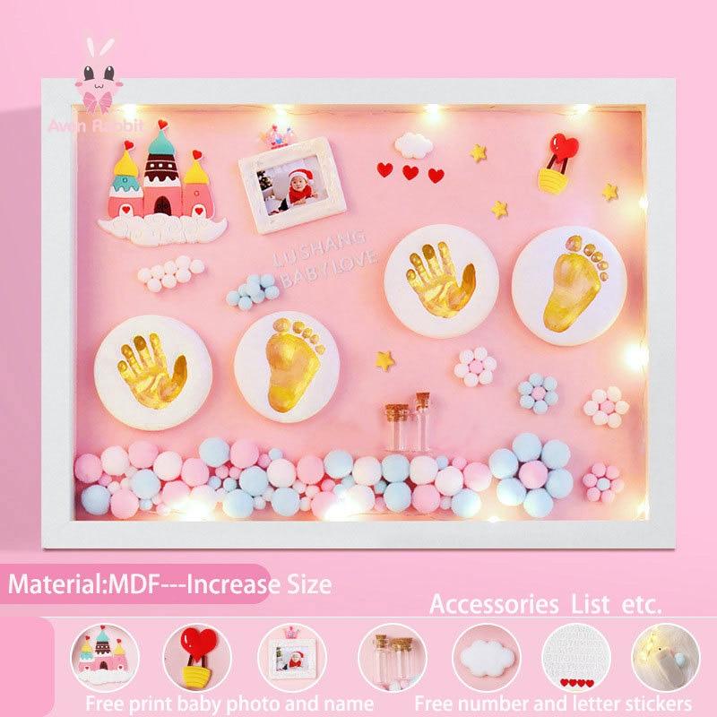 اكسسوارات الطفل الوليد طقم هدايا منتجات الأطفال هدية الطين اليد القدم Diy بها بنفسك الطفل إطار صور بصمة أقدام الملونة الطين تذكارية