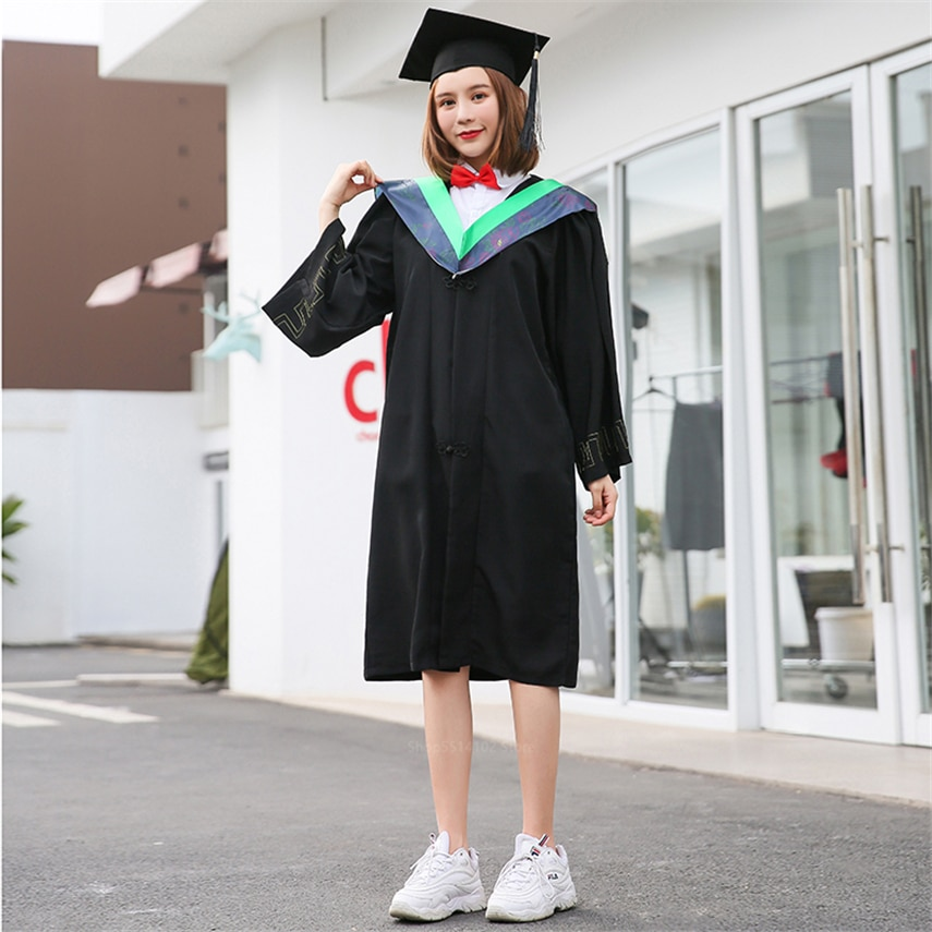 University Graduation Women Gown Student High School Uniforms Class Team Wear Men Academic Dress for Adult Bachelor Robes+Hat
