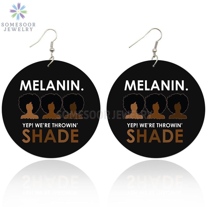 SOMESOOR África pendientes de gota de madera melanina Sombra Negra pelo Afro Natural joyas colgantes de madera para las mujeres regalos de navidad