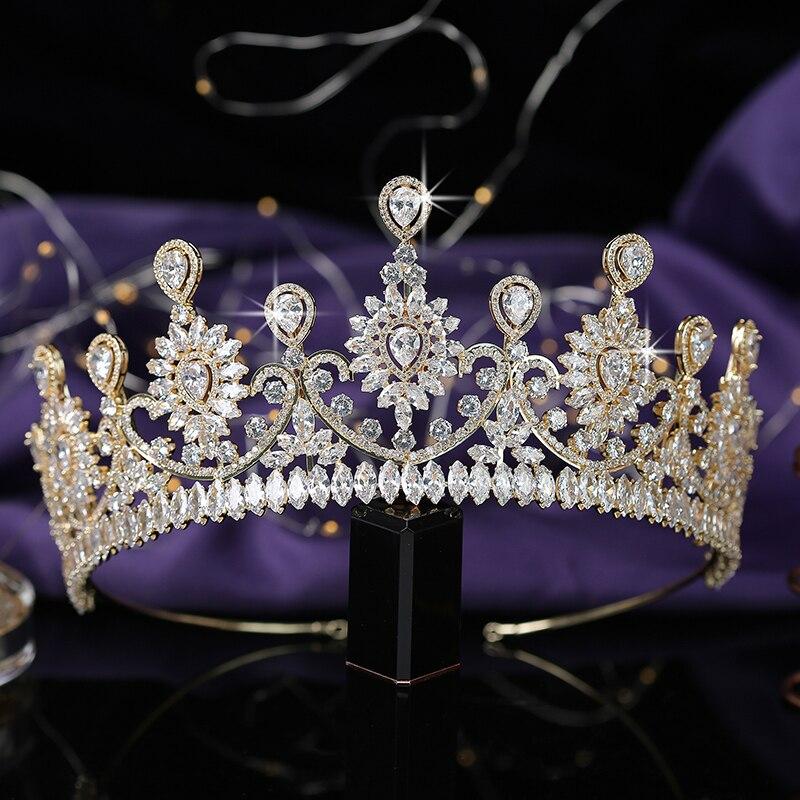 Crown HADIYANA Trendy Flower Design Women Wedding Bridal Hair Accessories Party Hair Jewelry Cubic Zircon BC5576 Corona Princesa