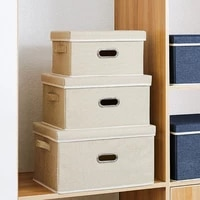 collapsible large capacity cotton linen folding storage box with cover clothingtoy storage household home organizer washable