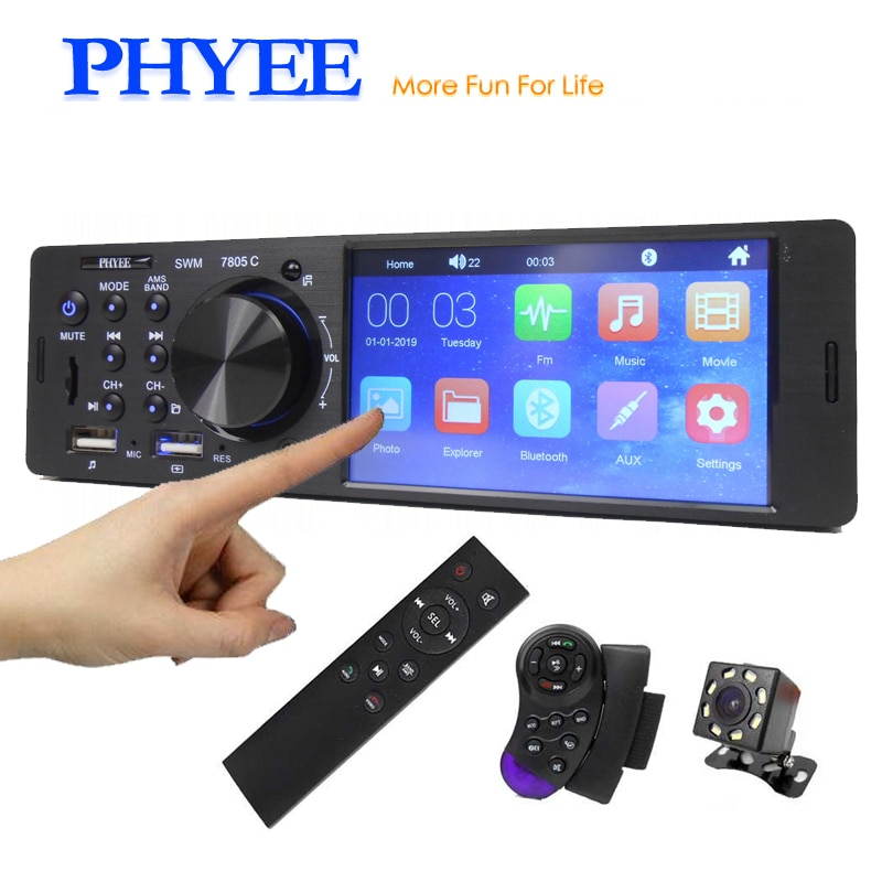 """Touch Screen Car Radio 1 Din 4.1"""" Bluetooth Audio Video MP5 Player TF USB Fast Charging ISO Remote"""