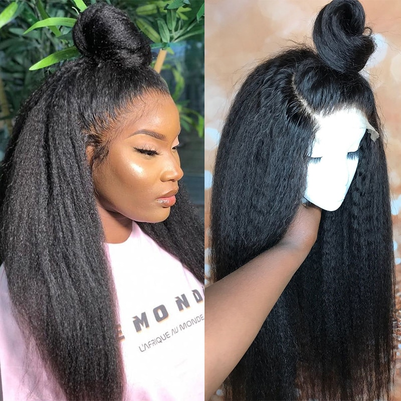 Kinky Straight Glueless Full Lace Human Hair Wigs 250 Density Full Yaki Coarse Blow Out Full Lace Wig Dolago Virgin Hair Wigs