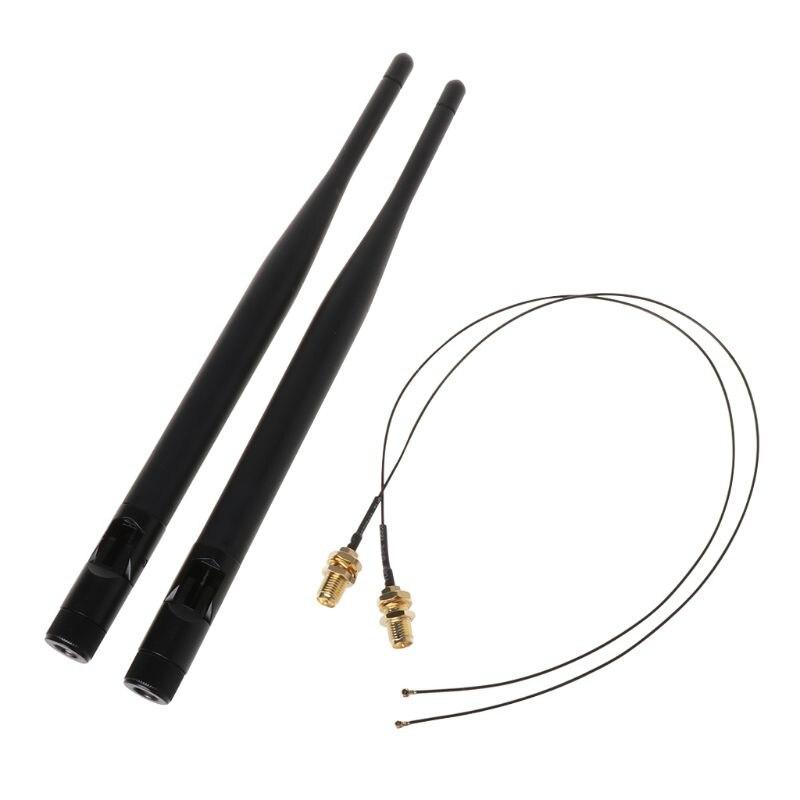 2x 6dBi M.2 IPEX MHF4 U fl Cable a RP-SMA Wifi señal de antena de Cable para Intel AC 9260, 9560, 8265, 8260, 7265, 7260 NGFF M.2 Coche
