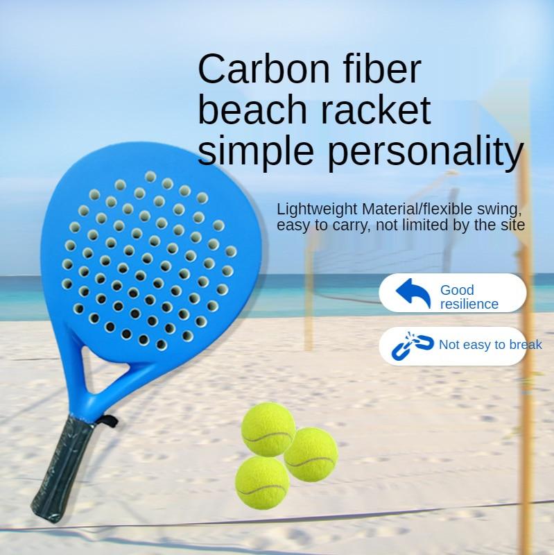 2021 Volwassen Professionele Full Carbon Beach Tennis Paddle Racket Zachte Eva Gezicht Raqueta Met Zak Unisex Apparatuur tennis