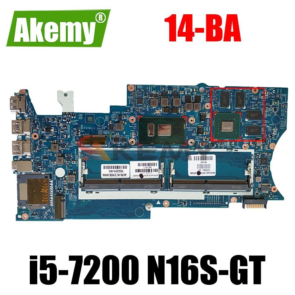923687-001 923687-501 923687-601 ل HP الحسد X360 14-BA اللوحة المحمول 16871-1 448.0BZ04.0011 مع I5-7200 CPU GPU N16S-GT
