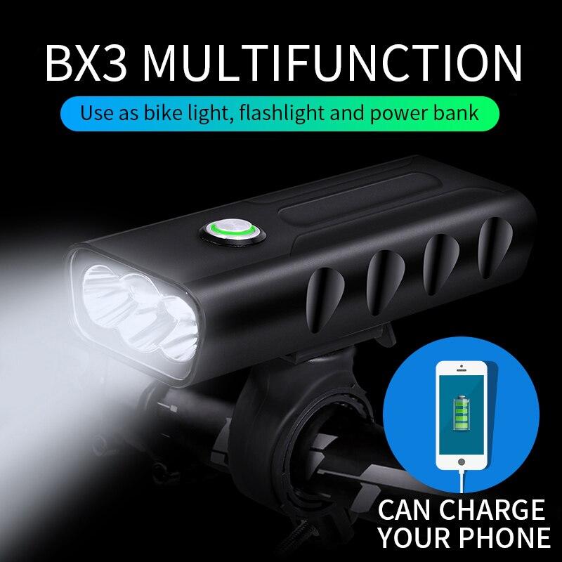 BX3 trois-eye intégré multi-shift gradation vélo lumières nuit équitation Super lumineux vtt phares longue Distance vélo lumières