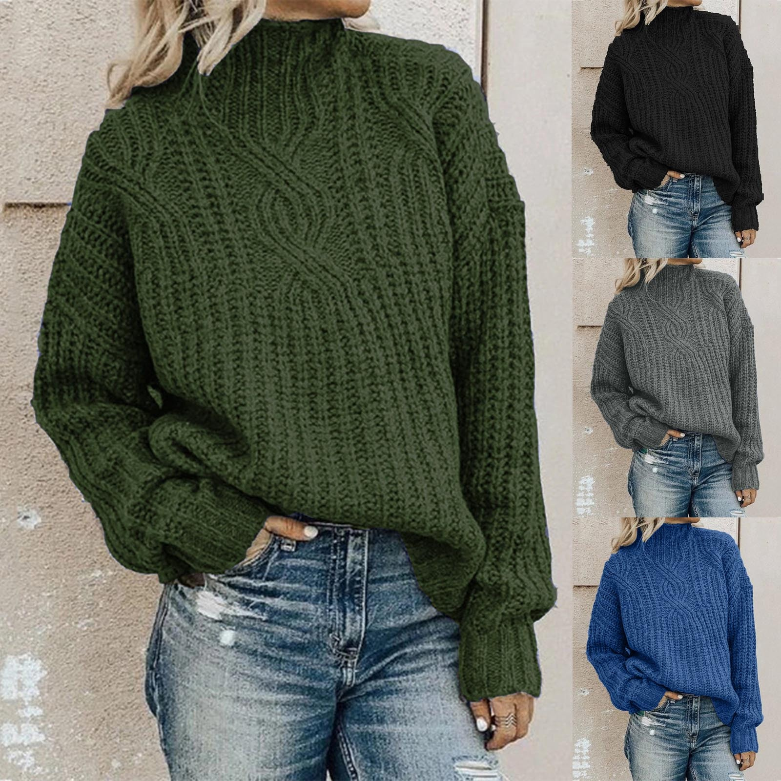 2020 Womens Sweater Fashion Solid Long Sleeve Loose Turtleneck knitting Sweater sweter mujer pull femme hiver
