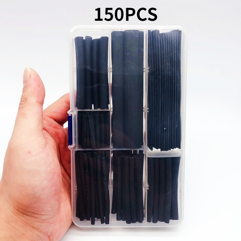 150PCS/SET heat shrinkable sleeving 2:1 black electronic DIY Kit insulated polyolefin sheathed shrink sleeve cables andCable