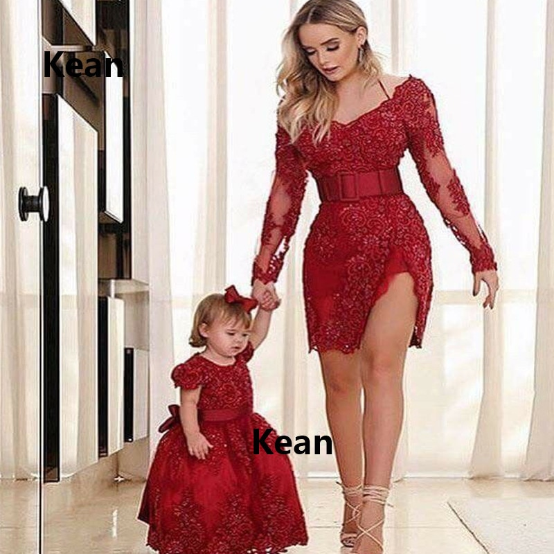 فستان كوكتيل ساتان مع شق أحمر ، دانتيل ، مثير ، حورية البحر ، أكمام طويلة ، حزام دانتيل ، أنيق ، مقاس كبير ، فستان حفلات قصير