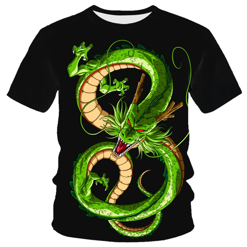 2021 new 3D dragon print T-shirt men's fashion casual street style T-shirt Harajuku jogging suit T-shirt animal shirt