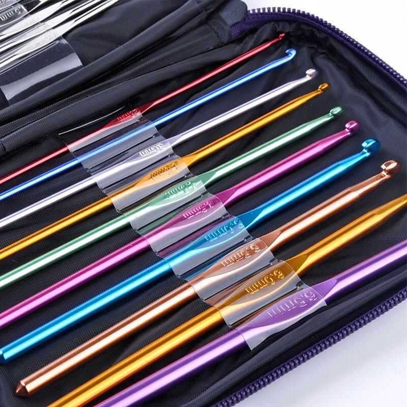 22 unids/set de acero inoxidable agujas ganchos de crochet conjunto de herramientas de agujas de tejer con el caso de artesanía de hilo Kit
