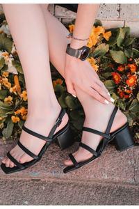 Black First Class Artificial Leather Heels Women Sandals Shoes COM-KDN-KTP-225694