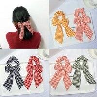 fashion elegant bow hair bands for women houndstooth ponytail holder hair accessorie girls elastics hair rope gift hair ribbon