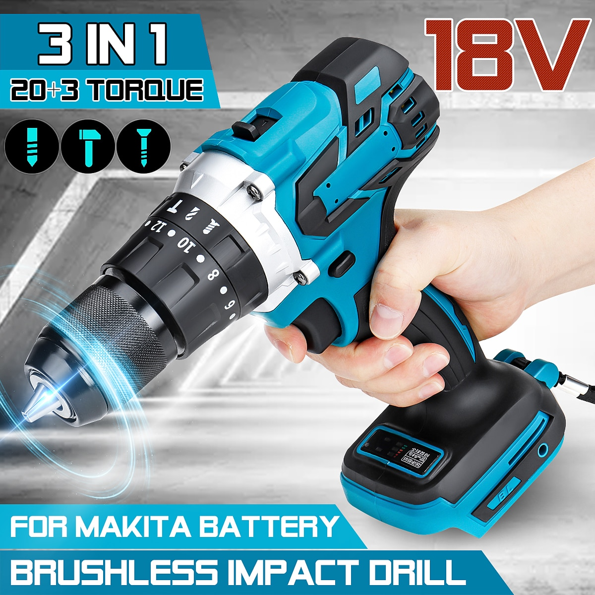 3 in 1 Brushless Electric Hammer Drill Electric Screwdriver 13mm 20+3 Torque Cordless Impact Drill for Makita Battery 18V