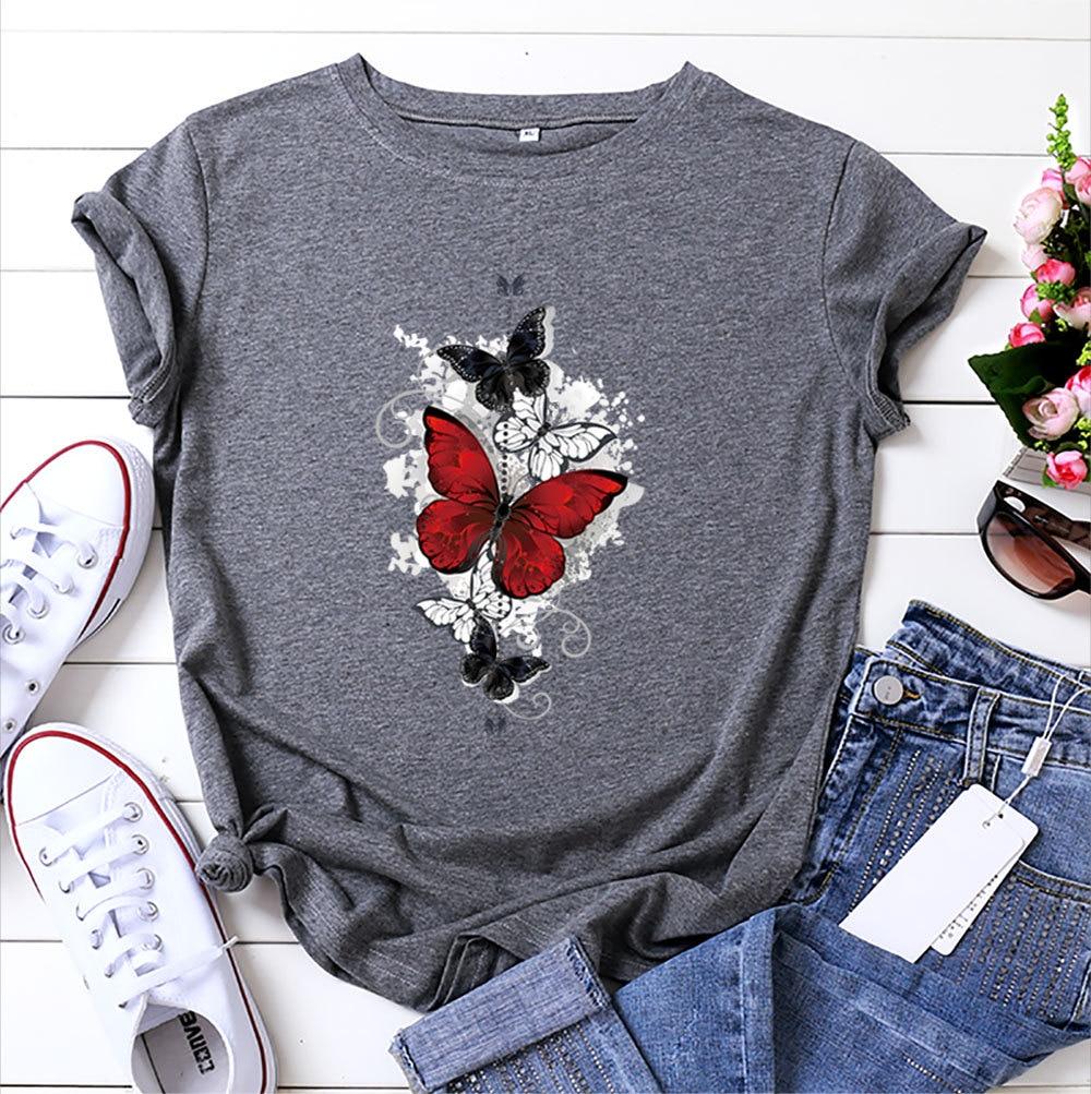 Бабочка Графические футболки летние хлопковые футболки с короткими рукавами для мальчиков; Футболка с круглым вырезом летающих бабочек, Де...
