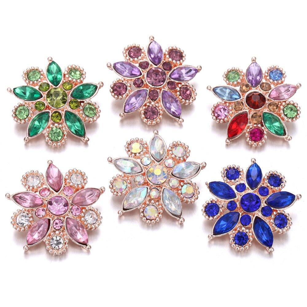 6 unids/lote, broche de presión de joyería, flor de cristal de oro rosa 20mm 18MM, botones de Metal para pulseras a presión para mujeres, broches intercambiables