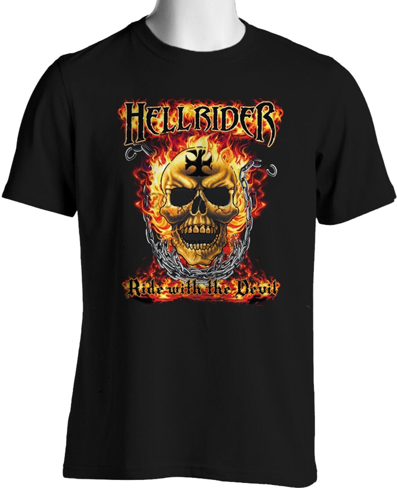 Heavy Metal Flaming Skull Biker T-shirt Hell Ride with Devil Mens Black T-Shirt