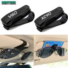 1pc Car Sun Visor Sunglasses Holder sticker For Volvo V40 V60 S60 S90 XC40 XC60 XC90 Auto Accessorie
