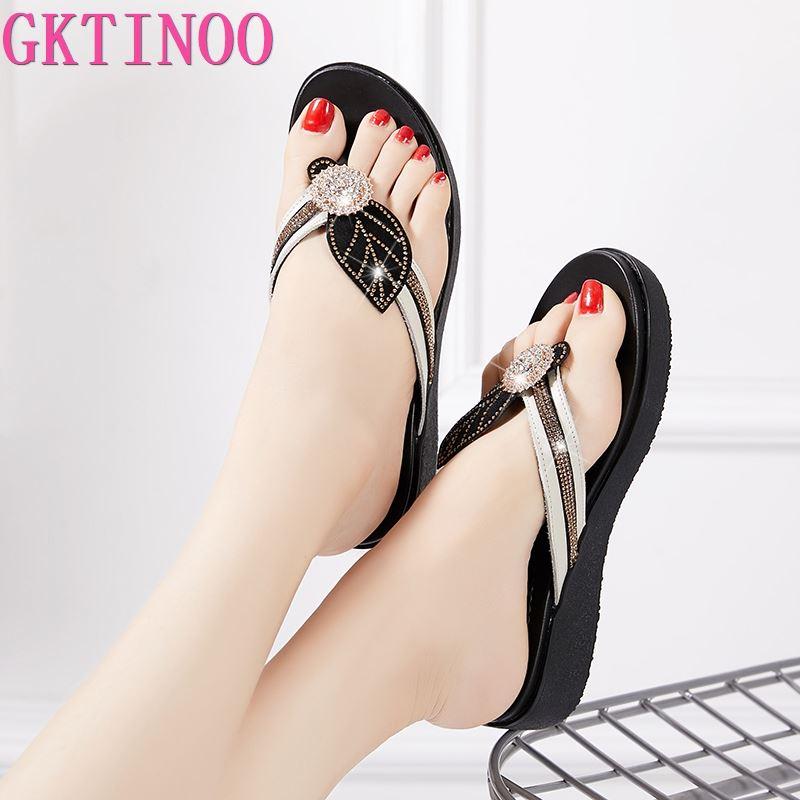 GKTINOO-شبشب نسائي بنعل سميك ، أحذية صيفية ، أحذية شاطئ ، جلد طبيعي ، مضاد للانزلاق ، 2021